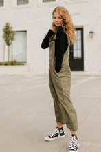 Load image into Gallery viewer, Ann Arbor Wide Leg Corduroy Olive Overalls
