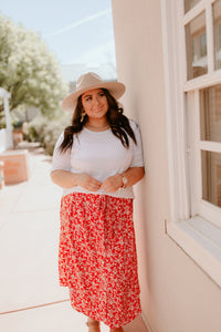 Ocracoke Beach Red Patterned Skirt