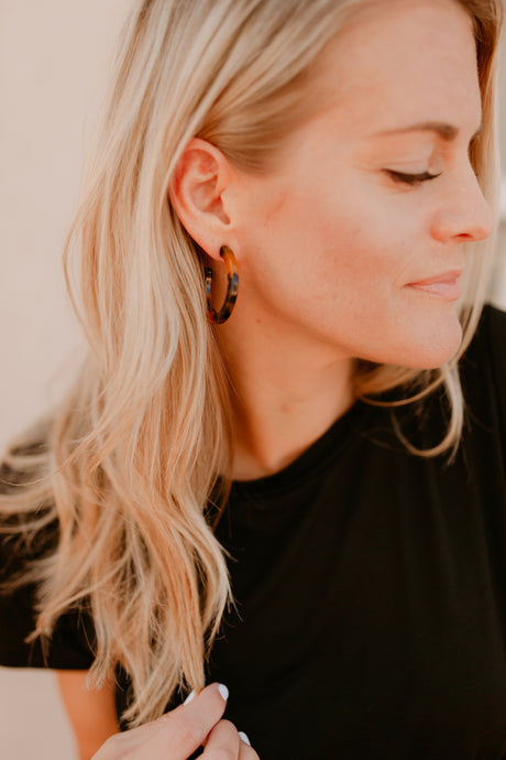 Durham Acetate Tortoise Hoop Earrings: Three Sizes