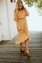Load image into Gallery viewer, Seine Floral Dress in Mustard