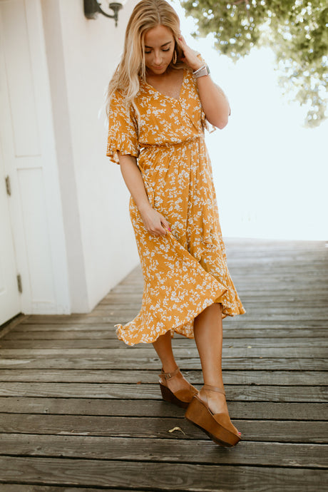 Seine Floral Dress in Mustard