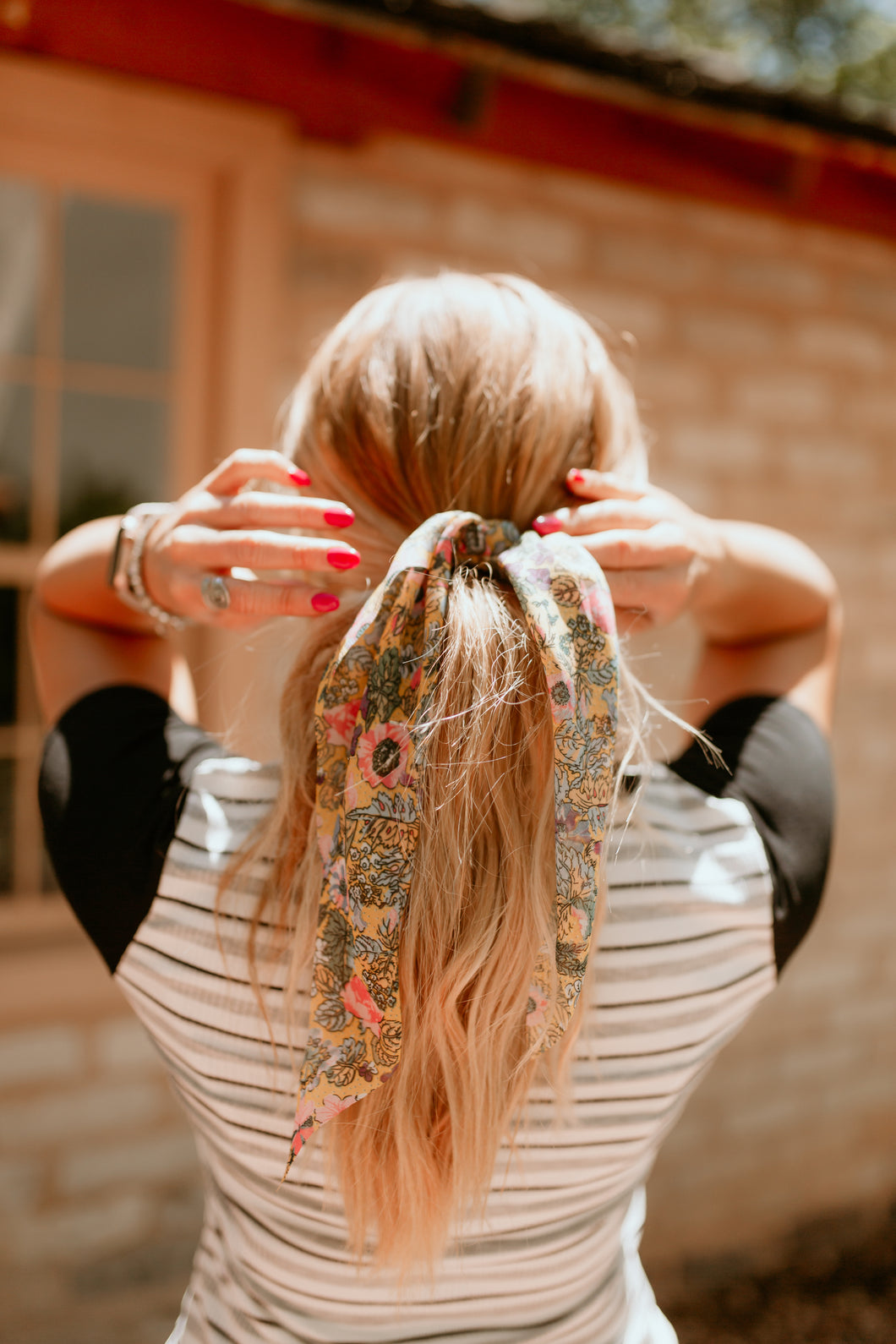 Vienna Scrunchie with Scarf Collection: Yellow Floral Print