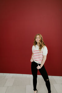 Athens Red and White Striped Top
