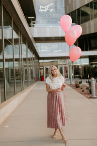 Sydney Crushed Velvet Blush Skirt
