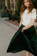 Load image into Gallery viewer, Dallas Hunter Green Velvet Skirt