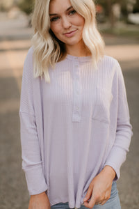 Pine Island Lavender Waffle Henley