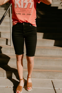 Midway Frayed Bermuda Shorts in Two Colors