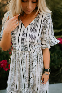 Seine Boho Patterned Dress in White