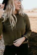 Load image into Gallery viewer, Cornelia Street Ruffle Olive Sweater