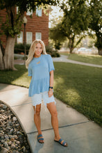 Load image into Gallery viewer, Garden City Peplum Top in Blue