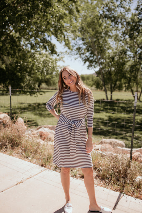 Summit Ave Striped Tie Dress