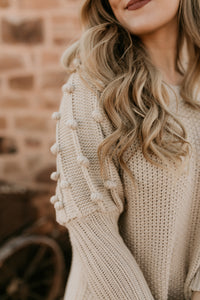 Little Valley Pom Pom Cream Sweater