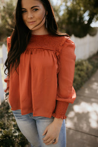 Biltmore Smocked Rust Top
