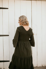 Load image into Gallery viewer, Stone Park Olive Smocked Dress