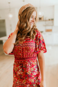 Seville Patterned Dress in Red