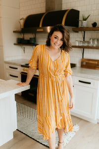 Seine Boho Patterned Dress in Mustard