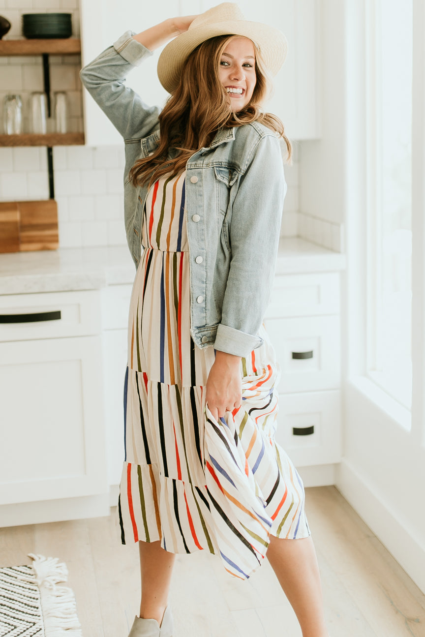 Liberty Park Multicolored Striped Dress