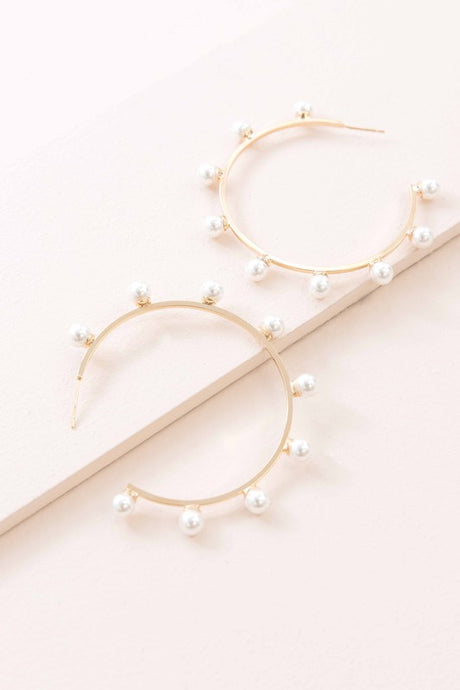 Venice Beach Accessory Collection : Gold Pearl Hoops