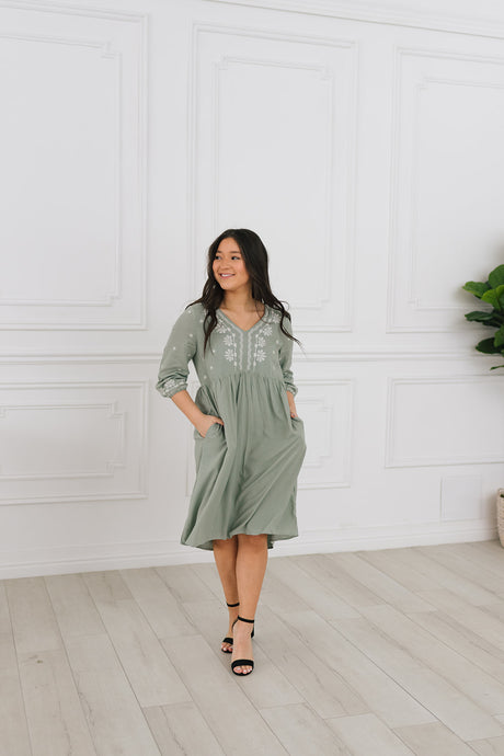 La Jolla Embroidered Dress in Sage