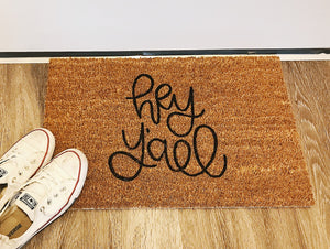 Village Co x Lottie Lane: Hand Painted Hey Y'all Welcome Mat