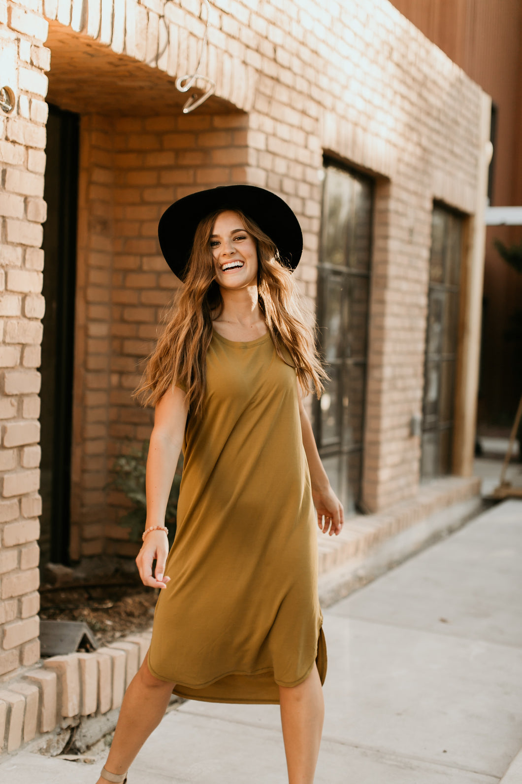 Lubbock Solid Dress in Ecru Olive