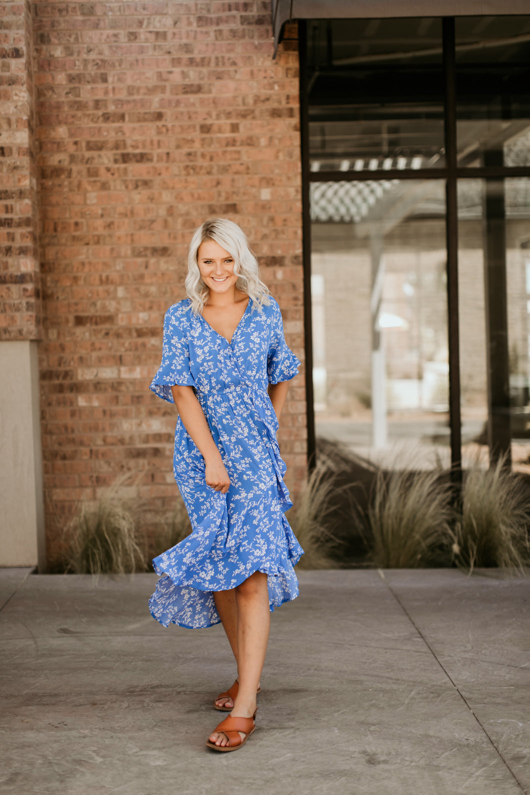Seine Floral Dress in Blue