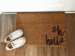 Village Co x Lottie Lane: Hand Painted Oh Hello Welcome Mat