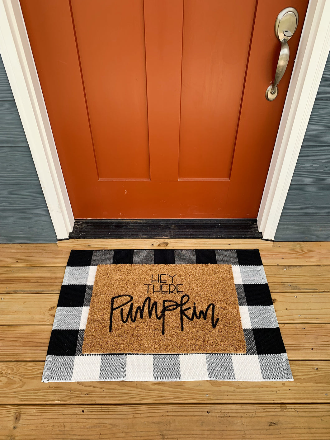 Hey There Pumpkin Hand Painted Doormat