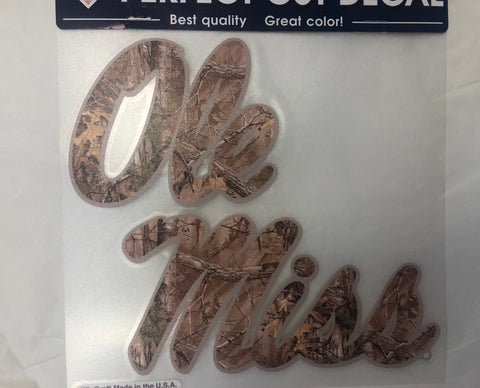 Ole Miss Camo Script Sticker
