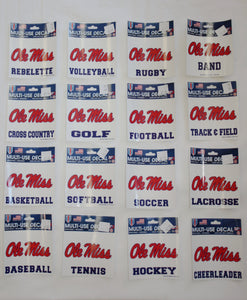 Ole Miss Script Square Stickers Rebel Fever University Sporting Goods