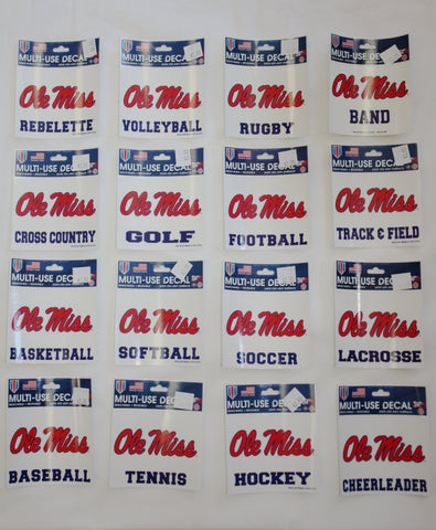 Ole Miss Script Square Stickers