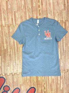 UM Rebels Heather Grey/Blue Henley Shirt