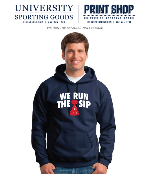 We Run The Sip Adult Navy Hoodie