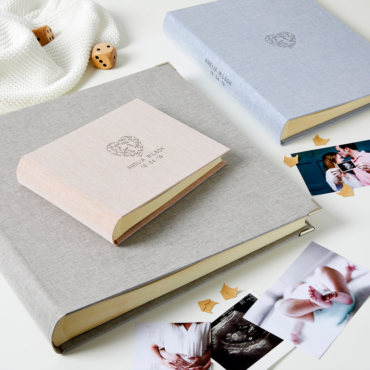 Personalised New Baby Floral Heart Photo Album