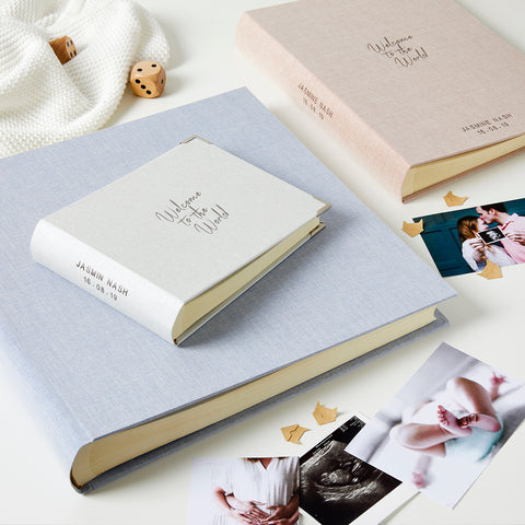 Personalised New Baby Welcome to the World  Photo Album & Box
