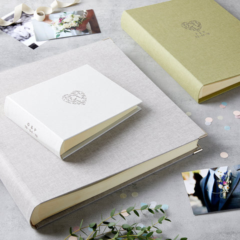 Personalised Wedding Floral Heart Initials Photo Album & Box