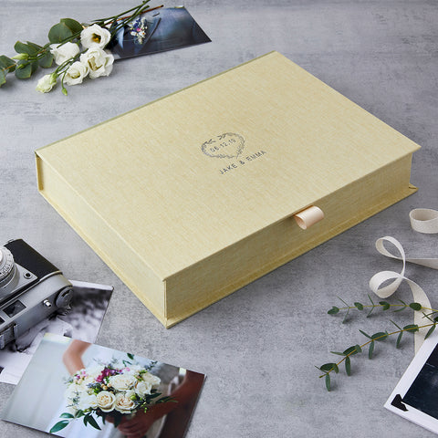 Personalised Wedding Heart Wreath Date Keepsake Box