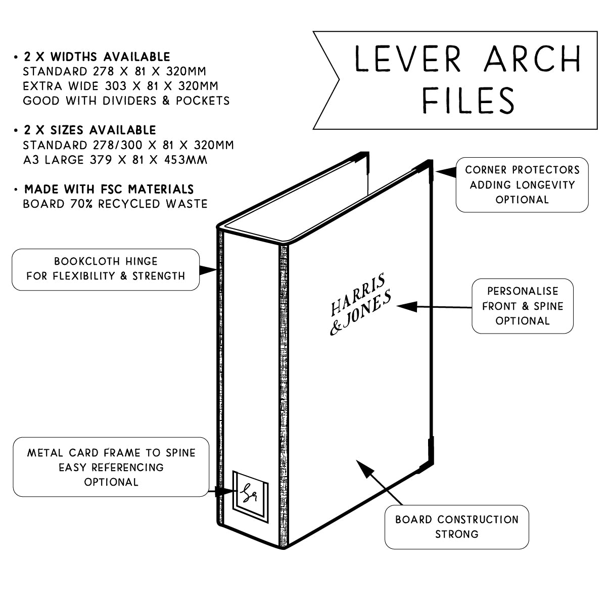 A3 Fabric Covered Lever Arch Files (55mm Capacity)