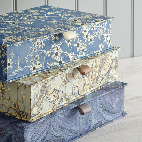 Handmade Marbled Box files designed by Jemma Lewis