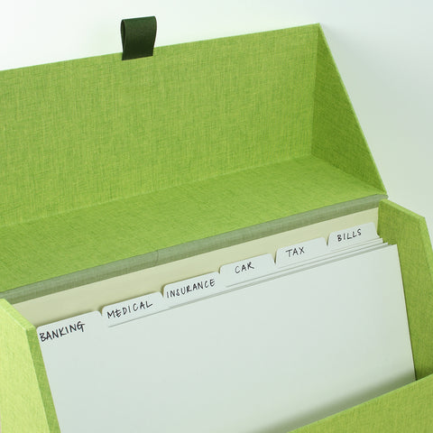A Harris & Jones fabric index box.