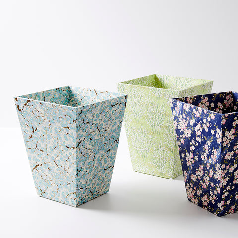 patterned waste paper bin