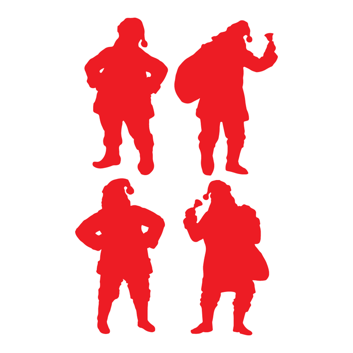 Red Santa Silhouette Decal Sticker (4 Pack)