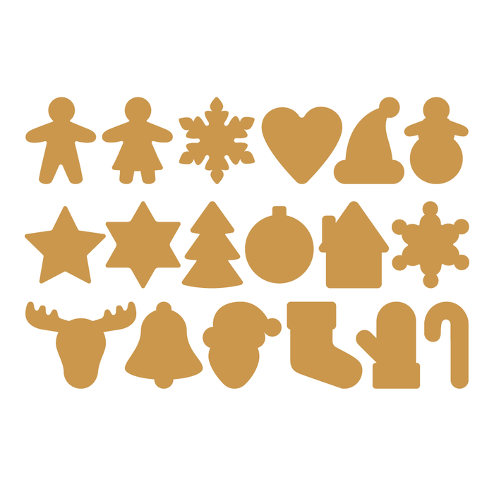Gold Assorted Christmas Decal Sticker (18 Pack)