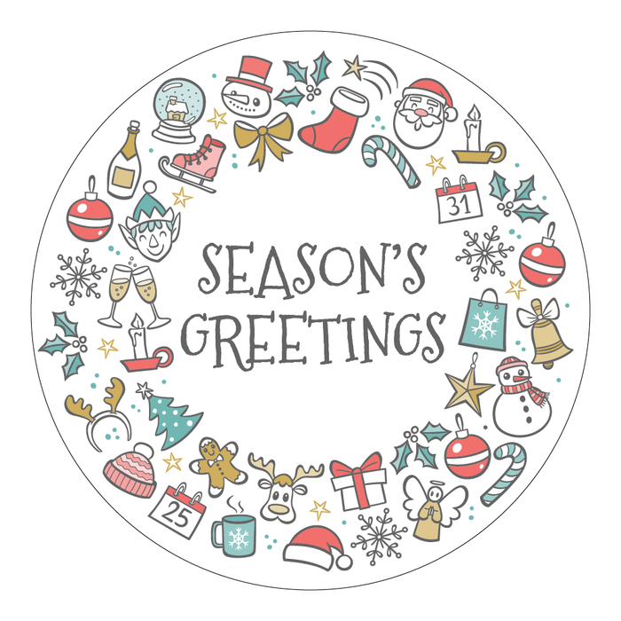 Round Seasons Greetings Cut Out