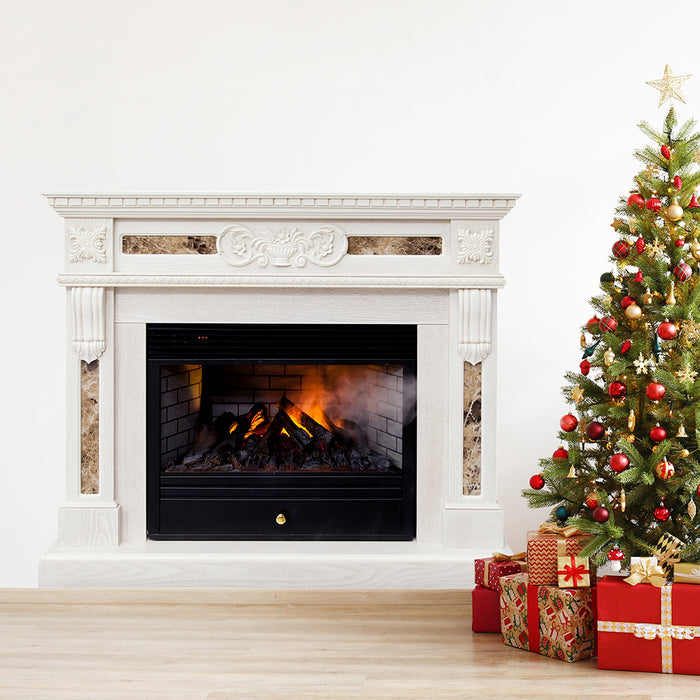 Printed Christmas Traditional Fireplace