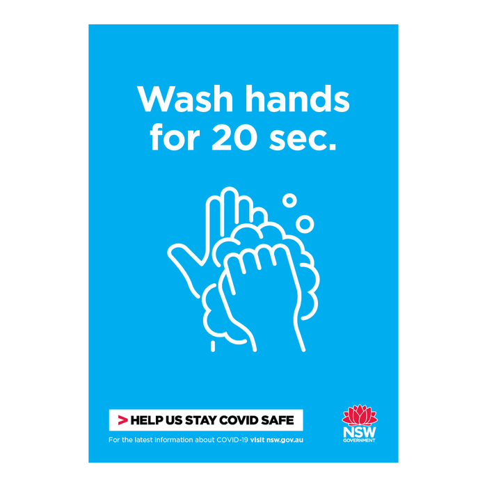 Wash Hands for 20 Seconds NSW Health