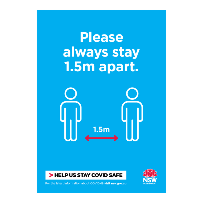 Please Always Stay 1.5m Apart NSW Health