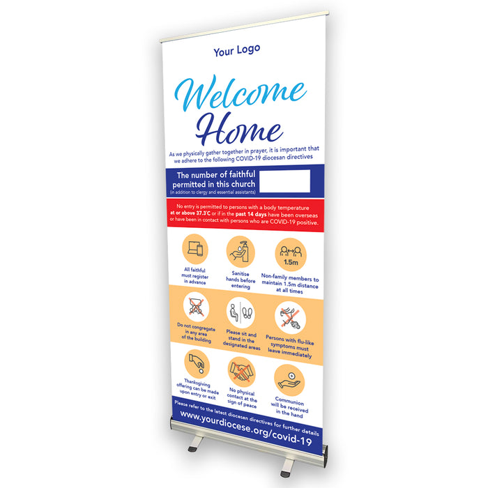 Welcome Home Church COVID Safety Pull Up Banner