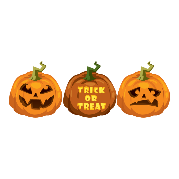 Halloween Pumpkin Trick or Treat Decal Sticker (3 Pack)