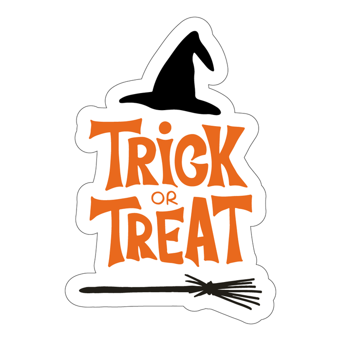 Halloween Trick or Treat Hat & Broom Decal Sticker